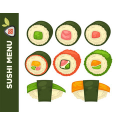 sushi food colorful flat collection on vector image vector image