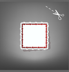 arrow on a square shape red icon with for vector image vector image