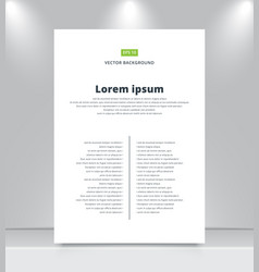 blank paper template on shelf with spotlights vector image