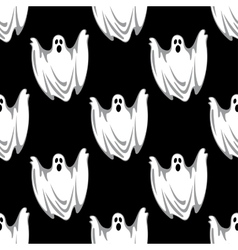 Cartoon scary ghosts in Halloween seamless pattern vector image