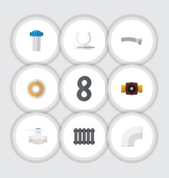 flat icon sanitary set of tap roll conduit and vector image