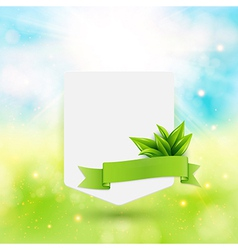 Paper note with ribbon and leaves on bright summer vector image