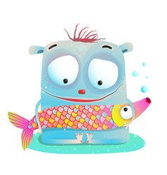 cute kids monster holding fish vector image vector image