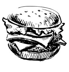 Delicious juicy burger vector image