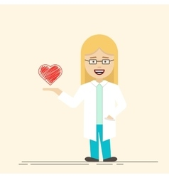 Female doctor or nurse with heart in her hand vector image vector image