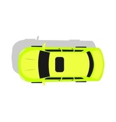 Green car top view flat design vector