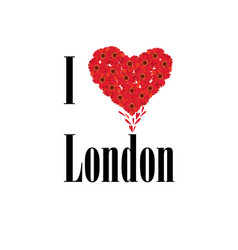 i love london lettering with heart shape flower vector image vector image