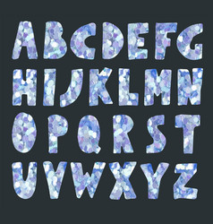 ice blue glitter sparkling font vector image