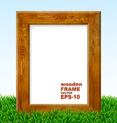 Oak frame with green grass vector image vector image