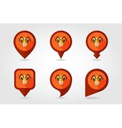 Bee flat pin map icon Animal head symbol vector image vector image