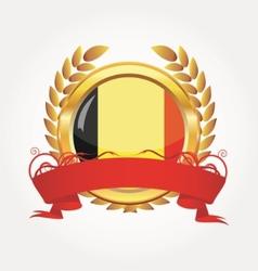 belgium shiny button flag with golden frame vector image vector image