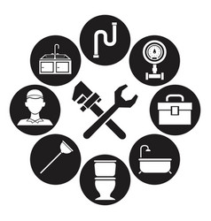 Black silhouette set icons plumbing with wrench vector