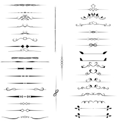 Set decorative design elements calligraphic vector image