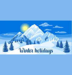 winter landscape with snowy mountains and fir vector image vector image