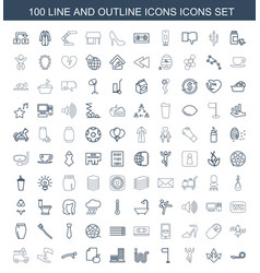 100 icons icons vector image
