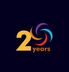 20 year anniversary rainbow template design vector