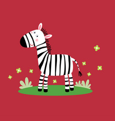 a cute zebra standing in grass vector image