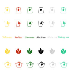 a set of icons for different types of tea vector image
