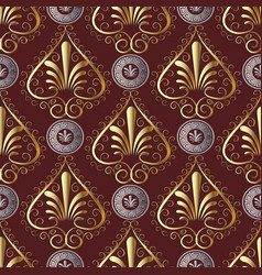 Ancient grecian floral seamless pattern red vector