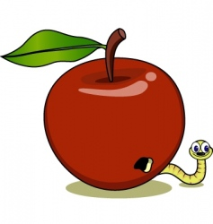 Apple and maggot vector