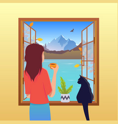 Autumn concept girl and cat looking out vector