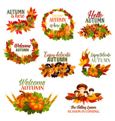 Autumn welcome hello fall leaf wreath icons vector