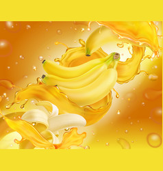 banana juice splashing on yellow background vector image