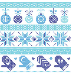 Baubles gloves stars in scandinavian xmas patter vector image