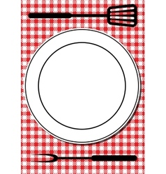 Bbq tools and plate vector