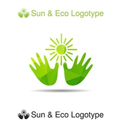 Bio logo icon and ecology symbol the sun in our vector image