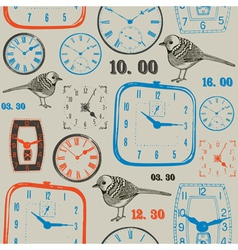 Birds with clock Seamless background vector image
