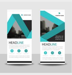 blue label roll up business brochure flyer banner vector image