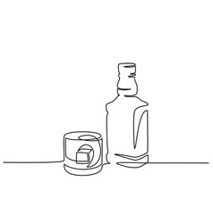 Bottle and glass of whiskey continuous one line vector
