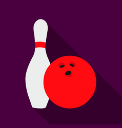 Bowling icon flate single sport icon from the big vector