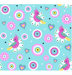 Bright seamless pattern with cute parrot vector