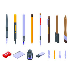 Calligraphy tools icons set isometric style vector