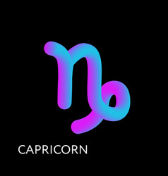 capricorn text horoscope zodiac sign 3d shape vector image