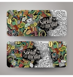 Cartoon doodles internet banners vector