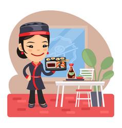cartoon female sushi chef vector image