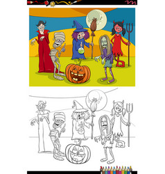 cartoon halloween characters group coloring book vector image