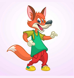 Cartoon pretty fox dancing vector