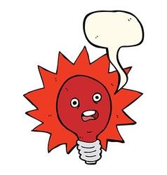 Cartoon red lightbulb with speech bubble vector