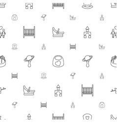 Childhood icons pattern seamless white background vector