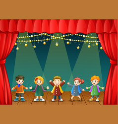 children in winter clothes vector image