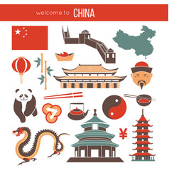 Chinese national things collection isolated on vector