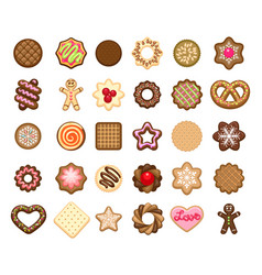 christmas cookies icons vector image