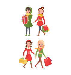 Christmas preparation shoppers with paper bags vector