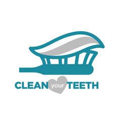 Clean your teeth turquoise with toothpaste and vector