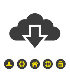 cloud download icon on white background vector image