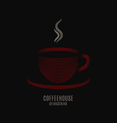 Coffee cup logo coffeehouse label with red mug of vector